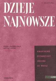 Dzieje Najnowsze : [kwartalnik poświęcony historii XX wieku] R. 21 z. 3 (1989), Title pages, Contents