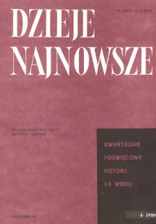 Dzieje Najnowsze : [kwartalnik poświęcony historii XX wieku] R. 21 z. 4 (1989), Title pages, Contents