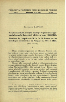 Wyniki ankiety dr. Henryka Raabego w sprawie występowania komarów domowych w Polsce w roku 1924 i 1925 = Résultats de l'enquête de M. le Dr. H. Raabe sur les moustiques domestiques en Pologne en 1924 et 1925