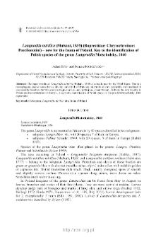 Lamprodila mirifica (Mulsant, 1855) (Buprestidae: Chrysochroinae: Poecilonotini) - new for the fauna of Poland : Key to the identification of Polish species of the genus Lamprodila Motschulsky, 1860