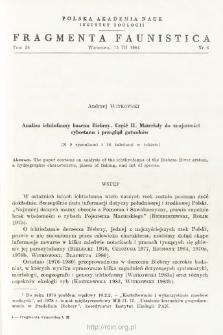 Analiza ichtiofauny basenu Biebrzy. Cz. 1, Materiały do znajomości rybostanu i przegląd gatunków