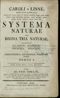 Systema naturae : per regna tria naturae, secundum classes, ordines, genera, species cum characteribus, differentiis, synonymis, locis. T. 1