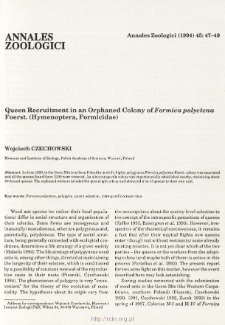 Queen Recruitment in an Orphaned Colony of Formica polyctena Foerst. (Hymenoptera, Formicidae)