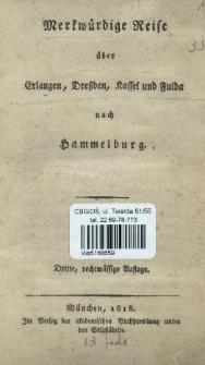 Merkwürdige Reise über Erlangen, Dreßden, Kassel und Fulda nach Hammelburg