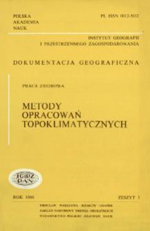 Metody opracowań topoklimatycznych = Methods of topoclimatic studies