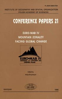 EURO-MAB IV : mountain zonality facing global change : conference 6-11 September 1993, Zakopane, Poland
