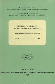 Bioclimatic research of the human heat balance = Bioklimatyczne badania bilansu cieplnego człowieka