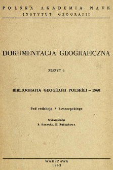 Bibliografia geografii polskiej - 1960
