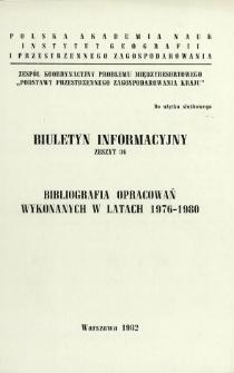 Bibliografia opracowań wykonanych w latach 1976-1980