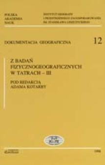 Z badań fizycznogeograficznych w Tatrach. 3
