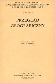 Przegląd Geograficzny T. 62 z. 3-4 (1990)