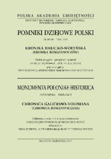 Kronika halicko-wołyńska : (kronika Romanowiczów) = Chronica Galiciano-Voliniana : (Chronica Romanoviciana)