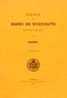 Anzeiger der Akademie der Wissenschaften in Krakau. Nr 4 April (1890)