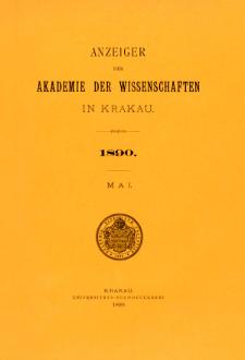 Anzeiger der Akademie der Wissenschaften in Krakau. Nr 5 Mai (1890)