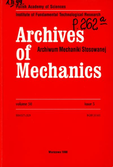 Archives of Mechanics Vol. 50 nr 4 (1998)