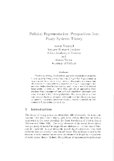 Political Representation: Perspectives from Fuzzy Systems Theory