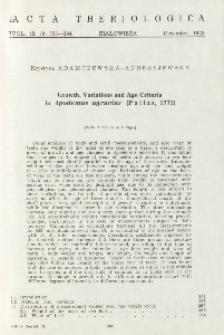 Growth, variations and age criteria in Apodemus agrarius (Pallas, 1771)