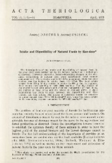 Intake and digestibility of natural feeds by roe-deer