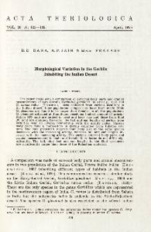 Morphological variation in the gerbils inhabiting the Indian desert