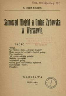Samorząd miejski a Gmina Żydowska w Warszawie