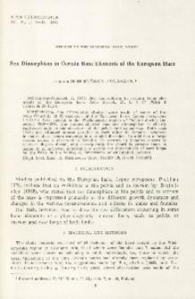Studies on the European hare. XXXIV. Sex dimorphism in certain bone elements of the European hare