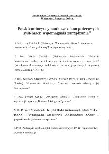 Polskie autorytety naukowe o komputerowych systemach wspomagania zarządzania