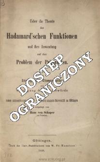 Ueber die Theorie der Hadamard'schen Funktionen und ihre Anwendung auf das Problem der Primzahlen