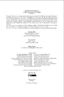 Fragmenta Faunistica vol. 62 no. 2 (2019) - contents