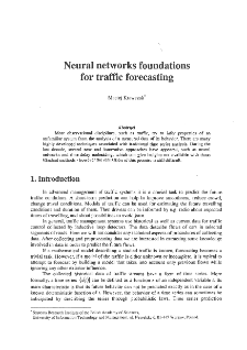 Eural networks foundations for traffic forecasting