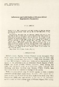 Laboratory and field studies of Myomys daltoni reproductive parameters