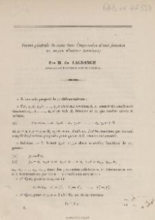 Forme générale du reste dans l'expression d'une fonction au moyen d'autres fonctions