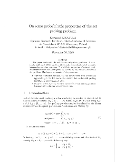 On some probabilistic properties of the set packing problem