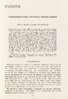 A hematological study of the walrus, Odobenus rosmarus