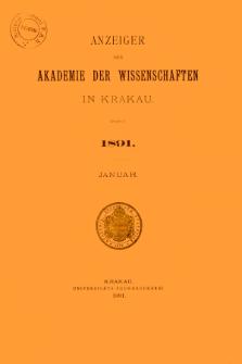 Anzeiger der Akademie der Wissenschaften in Krakau. No 1 Januar (1891)