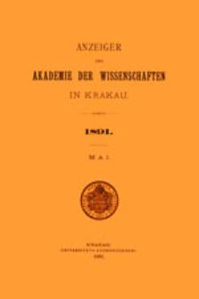 Anzeiger der Akademie der Wissenschaften in Krakau. No 5 Mai (1891)