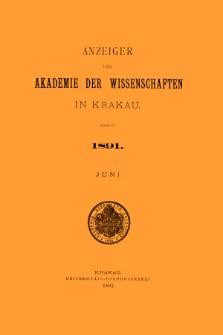 Anzeiger der Akademie der Wissenschaften in Krakau. No 6 Juni (1891)