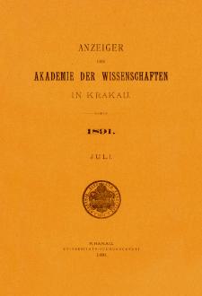 Anzeiger der Akademie der Wissenschaften in Krakau. No 7 Juli (1891)