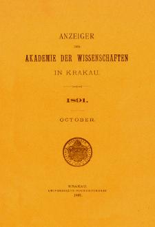 Anzeiger der Akademie der Wissenschaften in Krakau. No 8 Oktober (1891)