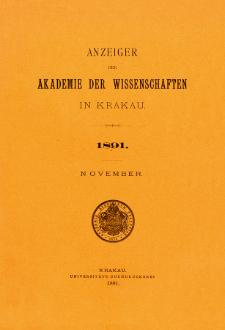 Anzeiger der Akademie der Wissenschaften in Krakau. No 9 November (1891)