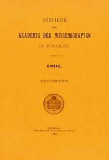 Anzeiger der Akademie der Wissenschaften in Krakau. No 10 December (1891)