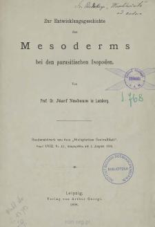 Zur Entwicklungsgeschichte des Mesoderms bei den parasitischen Isopoden