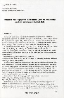 Badania nad wpływem domieszki CaO na własności spieków ceramicznych ZnO-Zr02 = Effect of CaO doping on properties of ZnO-ZrO2 sinters