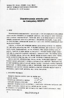 Charakteryzacja arsenku galu na tranzystory MESFET