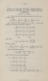 Note of series whose coefficients involve powers of the Bernoullian numbers