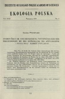 Studien über die Synchronisierung phytophänologischer Erscheinungen mit der Entwicklung des Apfelsaugers - Psylla mali Schmidt (Psyllidae)