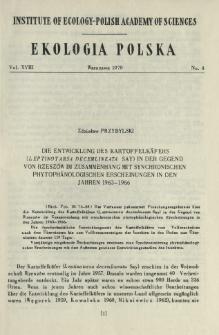Die Entwicklund des Kartoffelkäfers (Leptinotarsa decemlineata Say) in der Gegend von Rzeszów im Zusammenhang mit synchronischen phytophänologischen Erscheinungen in den Jahren 1963-1966