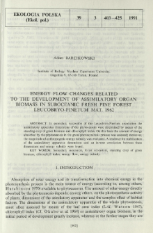 Energy flow changes related to the development of assimilatory organ biomass in suboceanic fresh pine forest Leucobryo-Pinetum Mat. 1962