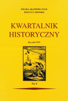 Kwartalnik Historyczny R. 114 nr 3 (2007), Strony tytułowe, spis treści