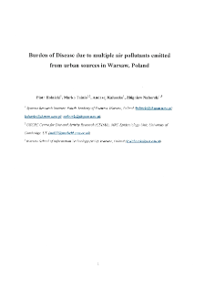 Burden of disease due to air pollutants emitted from urban sources in Warsaw, Poland