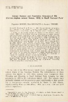 Energy balance and population structure of elk (Cervus elaphus nelsoni Nelson, 1902) in Banff National Park